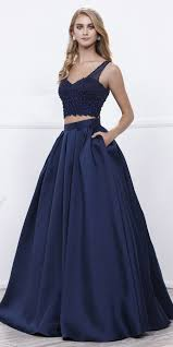 navy blue beaded crop top v neck long pleated skirt two piece prom