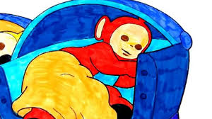 teletubbies po asleep in his bed coloring pages for toddlers