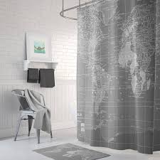Shower Curtain World Map Gray World Map Shower Curtain Gray And White Home Decor