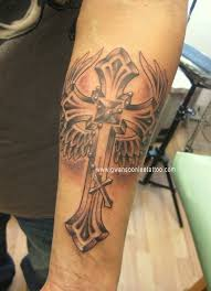 upper arm cross angel wings tattoo design photo 3 photo