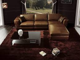 L Leather Sofa Luxury Living Room Interior Design With Glossy Brown L Shape