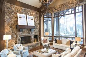 Interior Stone Tiles Small Unvarnished Log Cabin Design Inspiration Brick Tiles Designs
