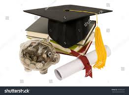 graduation piggy bank graduation hat books diploma piggy bank stock photo 139565228