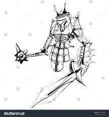 futuristic robot samurai sketch iron robot stock vector 341470106