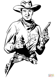 cowboy with two guns coloring page free printable coloring pages