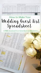 Spreadsheet Tutorial How To Your Wedding Guest List Spreadsheet Free