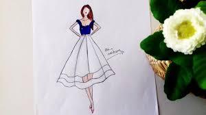 blue u0026 white dress drawing youtube