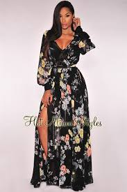 black floral print faux wrap slit maxi dress