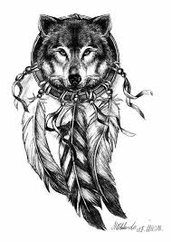 Wolf Indian Tattoos - dreamcatcher wolf design