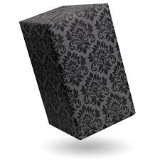 black wrapping paper gift wrap damask black on grey