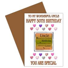 uncle 50th happy birthday card with removable magnet gift 50