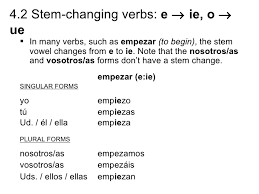 4 2 stem changing verbs e to ie o to ue