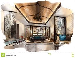 Interior Design Sketches Sketch Perspective Interior Bedroom Into A Watercolor On Paper