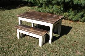Primitive Kitchen Table by Primitive Distressed Dark Walnut Stained Antique Country White