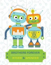 modern robot artwork children brothers 11x14