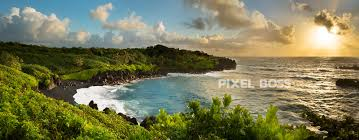 Black Sand Beaches by Black Sand Beach Maui Indigo Sunrise Pixel Boss Ultra High