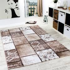 Esszimmer Teppich Edler Designer Teppich Patchwork Vintage Teppich Meliert In Braun