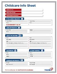 Daycare Information Sheet Template report printable for child care kiddos