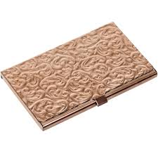 amazon com metal damask embossed business card case silver