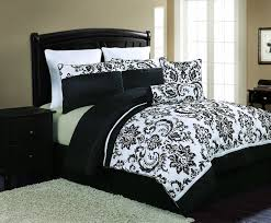 Black Bedding Good Looking Black And White Comforter On Wooden Bed Frame Which