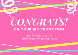 congratulations promotion card pink white colorful bold stripes congratulations card