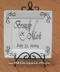 personalized anniversary plate your colors personalized wedding anniversary gift square white