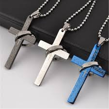 cross necklace images Lemoer brand fashion stainless steel bible cross necklace men jpg