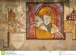 mural painted wall depicting a knight carcassonne france stock mural painted wall depicting a knight carcassonne france stock photo