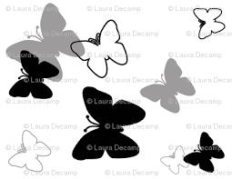 black grey gray butterfly grayscale fabric dec studios