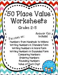 50 place value worksheets for grades 2 5 by our wonderful journey
