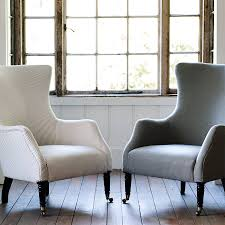 Wing Back Armchairs Bromley Wing Back Chair Grey Ticking Stripe By Rowen U0026 Wren