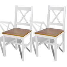 chaise bois et blanc 2 pcs chaise salle à manger en bois blanc et naturel achat vente