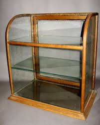 glass counter display cabinet late19th century antique oak curved glass mercantile countertop