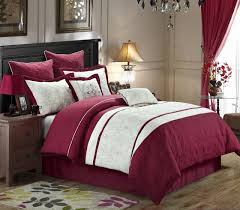 12 piece caesar burgundy white bed in a bag set