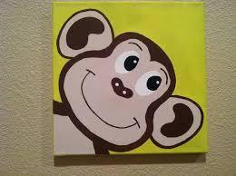 cute peekaboo monkey handpainted acrylic painting on canvas