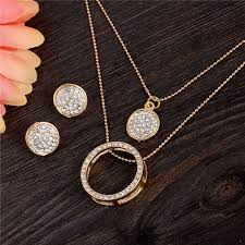 earring chain necklace images Gold color crystal jewelry sets women fashion round multilayer jpg