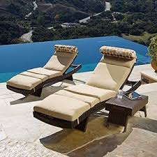 Patio Furniture Loungers Amazon Com Portofino Signature 3 Piece Lounge Set With Cushions