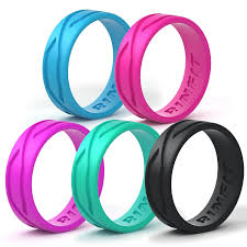 rubber bands rings images Silicone wedding ring for women 3 or 6 rings pack jpg