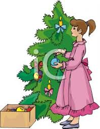 royalty free clipart image decorating christmas tree