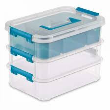 sterilite stack carry 3 layer handle box 10 5 8in l x 7 1 4in