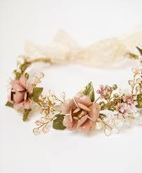 floral hair accessories pink flower hair crown bridal hair accessories for boho