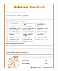 behavior contract template exol gbabogados co