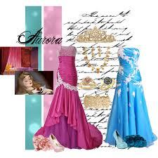 aurora pink and blue dresses polyvore