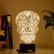 designer 3d led lamps ultimate flower skull lamp arafen