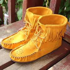 womens boots made in canada s stylish genuine suede ankle high fringed moccasin boots