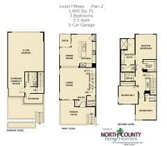 Three Story Townhouse Floor Plans New Townhomes In Escondido Selling At Level Fifteen From The High
