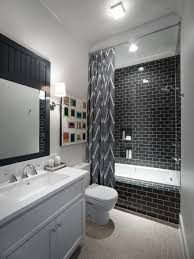 decorating modern bathroom design with gray chevron curtains and