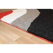 Red White Striped Rug Maxy Home Shag Block Striped Waves Red Black White Grey Area Rug