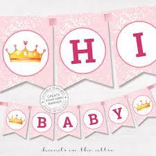 diy banner pink baby shower template editable name garland