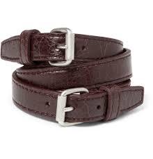 leather bracelets for men balenciaga wrapped creased leather bracelet in purple for men lyst